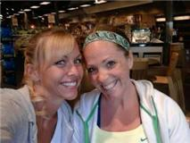 Mandi and I enjoying the salad bar on a break from personal training certification workshop
